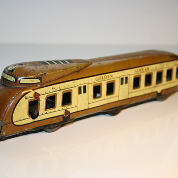 Wells golden stream railcar train tin toy