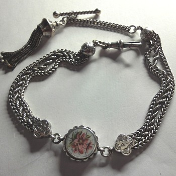 Victorian Sterling Silver enameled watch Chain