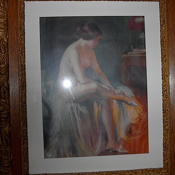 A glowing 1920's pinup girl pastel print. - Visual Art
