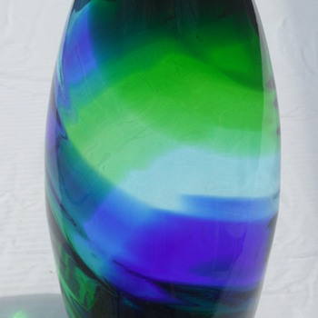 Hand Blown Green Blue Swirl Vase - Art Glass