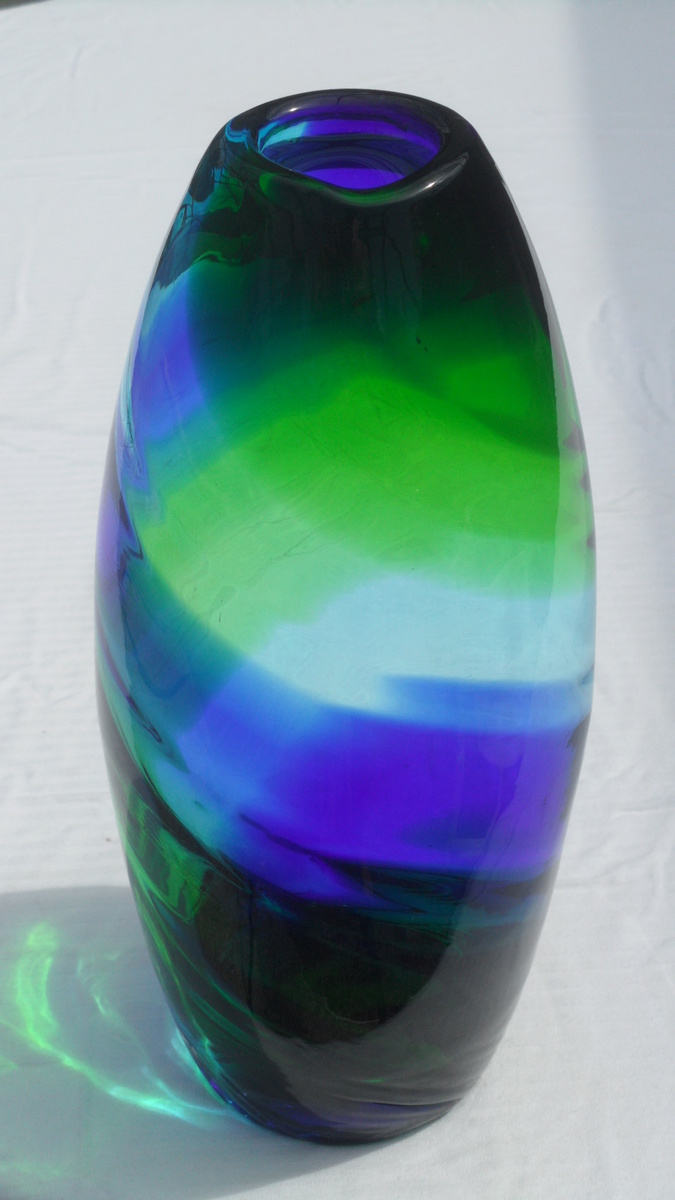 Hand Blown Green Blue Swirl Vase Collectors Weekly