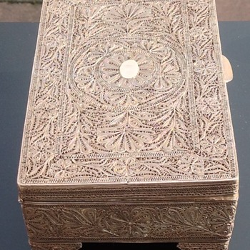 Antique Portuguese Filigree silver Goan Box. - Silver