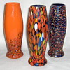 3 Related Czech 1930s Spatter Vases Kralik or Ruckl Cased 6.5in Signed