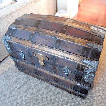 Restored 1880's Trunk Leather Covered Trunk