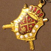 Vintage DEMOLAY Masonic Pin attached to Peoria HS Pin