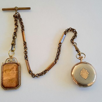 "Pocket watch chain and fob with ""Goldstone Aventurine Glass"""