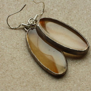 Silver and Agate earrings - Fine Jewelry
