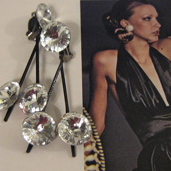 Lewis Segal California 1970's rhinestone earrings