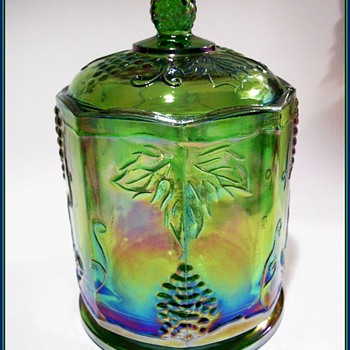 INDIANA GLASS CANISTER -- GREEN -- Carnival Glass