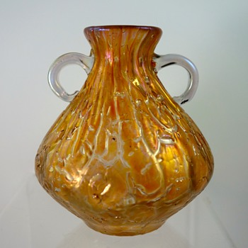 Loetz 2-handled vase, orange Astglas, PN II-294, ca. 1900