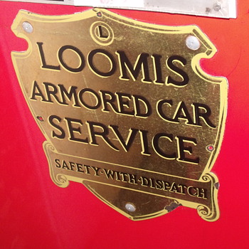 loomis armour car  metal side signs from 1960's