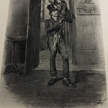 Photogravure of Bob Cratchit & Tiny Tim Charles Dicken's