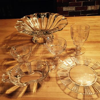 Clear Depression Glass Set- unknown pattern