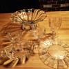 Clear Depression Glass Set- unknown pattern