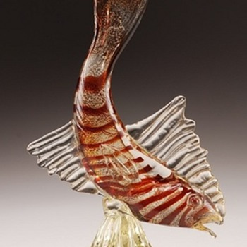 vintage murano glass fish with gold specks - Art Glass