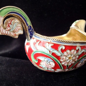 Russian Gilt Silver Enameled Kohvs marked 88 - Sterling Silver