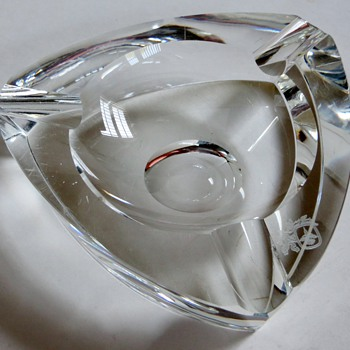Triangular Crystal Ashtray~GORGEOUS!~Strange Mark Imbedded~How Old do You Think?