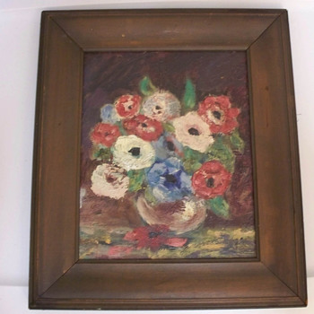 Old Oil Painting of Floral Arrangement.  Any guesses?