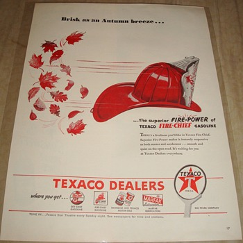 Texaco Fire Chief &quot;Brisk as an Autumn breeze...&quot; Magazine Ad - Advertising