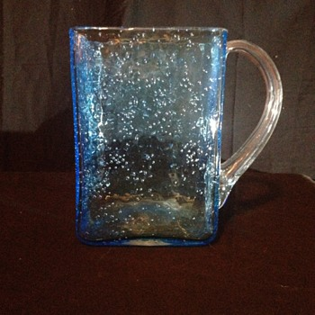 Hand Blown Blue Bubble Pitcher/Vase