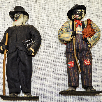 Black Americana Folk Art Walnut Head Dolls