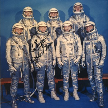 John Glenn Original Signed Photo of Mercury Spaceflight Crew - Photographs