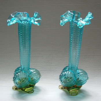 Welz Ribbed Ball Feet Vases - Art Glass