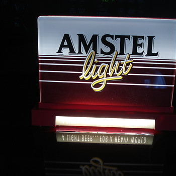 VINTAGE AMSTEL BEER LIGHT UP ADVERTISING SIGN & MIRROR WITH CHALKBOARD!!