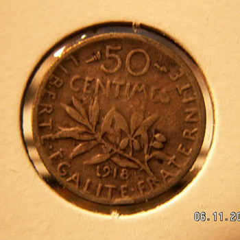1918 France 50 Centimes - World Coins