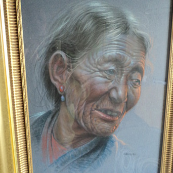 Tibetan Old Woman by Goray Douglas, 1963