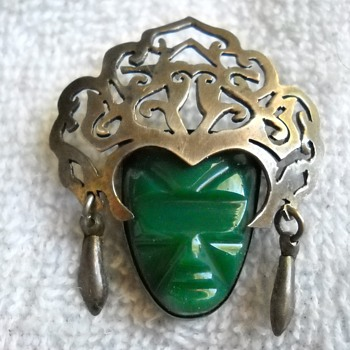 MEXICO STERLING FACE MASK BROOCH