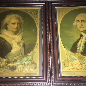 1880 H. Hallett prints of George and Martha Washington  - Visual Art