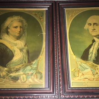 1880 H. Hallett prints of George and Martha Washington