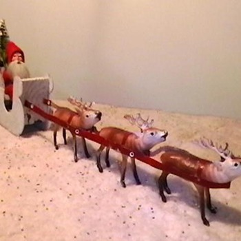 1920's-1930's German Santa with Sleigh and Reindeer
