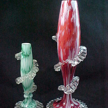 Red Antonin Rückl & Sons / Ruckl Bohemian Vase & Green Honeycomb Spatter or Cottage Glass Decor - Art Glass