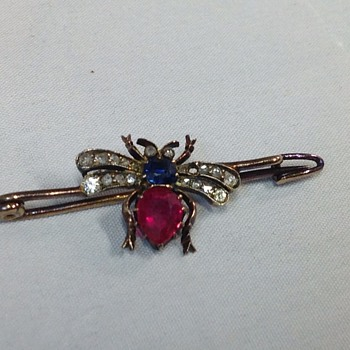 Victorian Ruby, Diamond and Sapphire Fly Brooch / Pin - Fine Jewelry