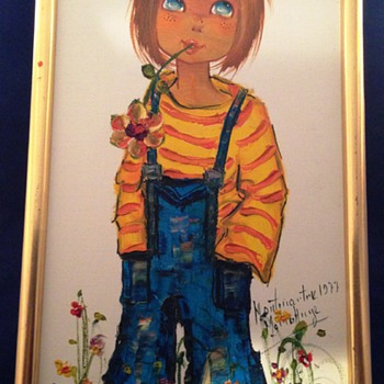 1977 Vintage Montmartre Girl Framed Signed Oil Painting on Canvas