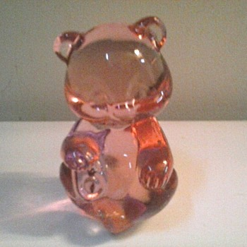 "Fenton Rose Glass ""Bear Cub"" Paperweight / Circa 1995 - Art Glass"