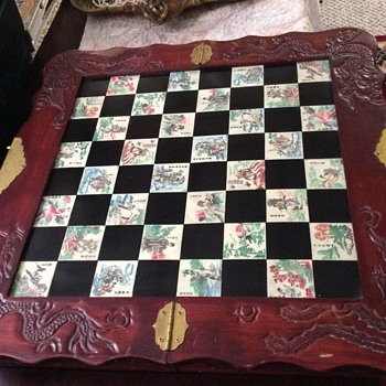 Collectible Wood Chess Game with Chinese engraving motives