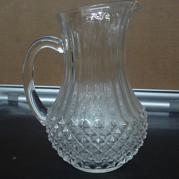 Water pitcher with symbol etched on bottom. - Glassware