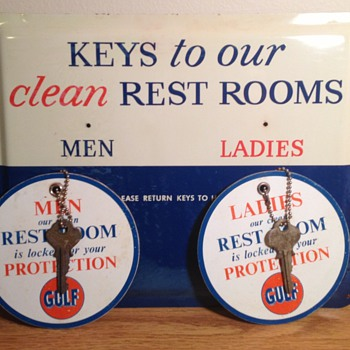 1961 Gulf Service Station Restroom Key Rack