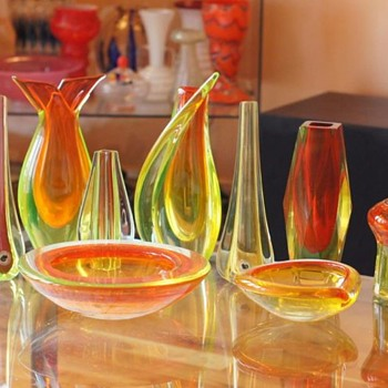 One of my Guilty Pleasures.....  Italian glass - Uranium and Red/orange