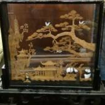 Panda &amp; Village Display Piece In Glass Frame With Stand - Asian