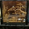 Panda &amp; Village Display Piece In Glass Frame With Stand