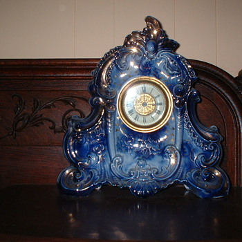 Flow Blue Porcelain Clock - Clocks