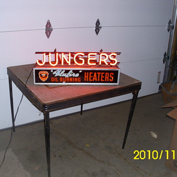 Jungers oil heater advertising neon