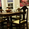 1920's Walnut Veneer Dining Room Table & Chairs by Hoover Chair Company