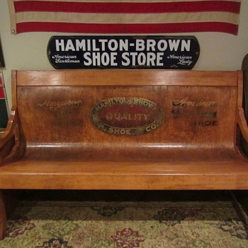 Hamilton Brown Shoes bench and porcelain sign