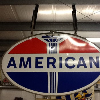American gas sign with original frame.