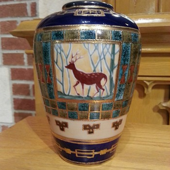 Nippon Vase with Deer - China and Dinnerware